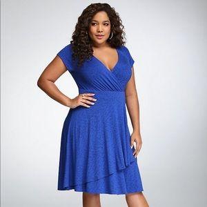 Torrid Blue Bird Print Surplice Dress